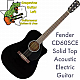 Fender CD-60SCE Dreadnought Solid Top Acoustic Electric Guitar - Black